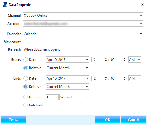 """Data Properties"" dialog for calendar widgets - Outlook Online channel"