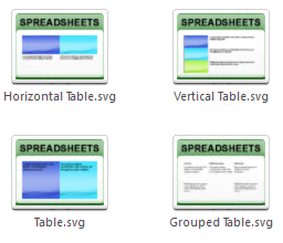 Sample table icons