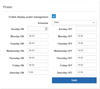 Display power saving per weekday