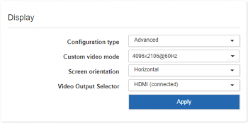 Display settings for advanced configuration