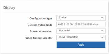 Display settings for custom configuration